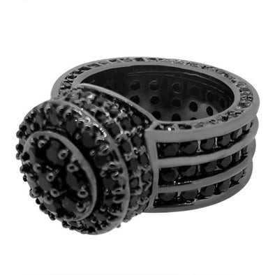 Custom Cluster Black Bling Bling Ring