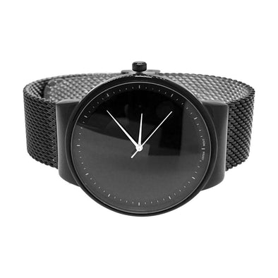 Minimalistic All Black Mesh Band Watch