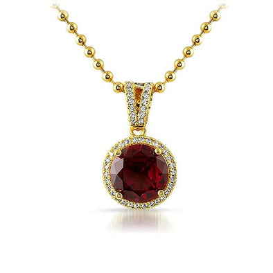 .925 Silver Gold M Round Red Gem Bling Pendant