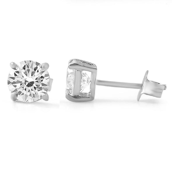 H&A Round Cut CZ Stud Earrings .925 Silver