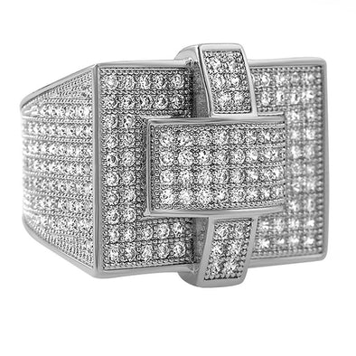 Cross Iced Out Rhodium CZ Bling Bling Ring