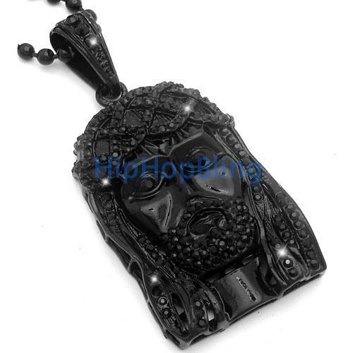 Black Jesus Piece Pendant & Rosary Chain Black Diamonds