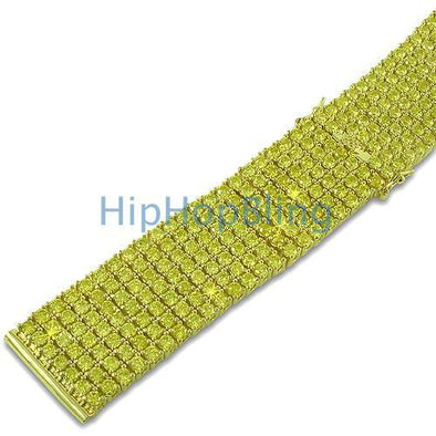 Custom 7 Row CZ Lemonade Watch Strap 24mm