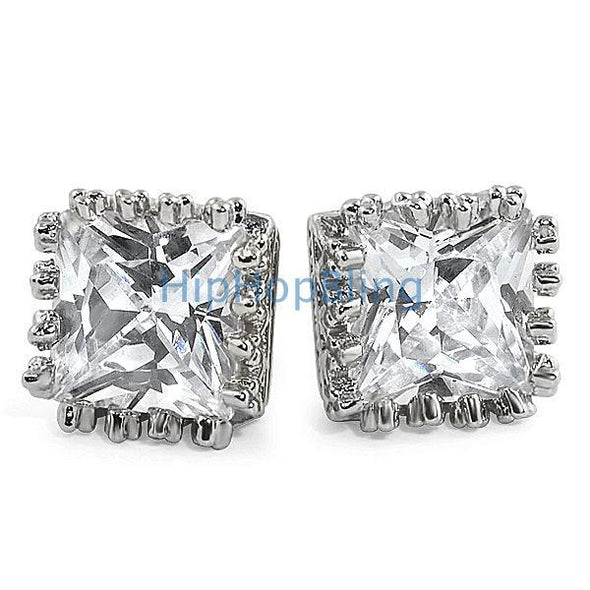 Bling Crown Princess Cut CZ Earrings