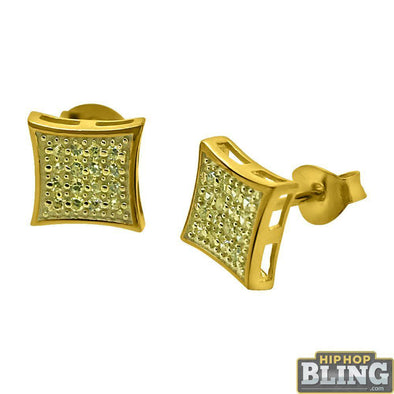 Canary CZ Gold Small Kite Hip Hop Earrings