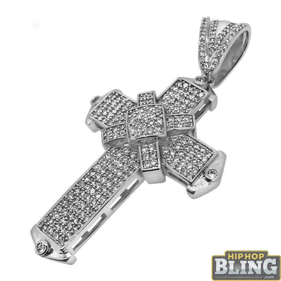 Bling Bling Pointed X Cross CZ Pendant
