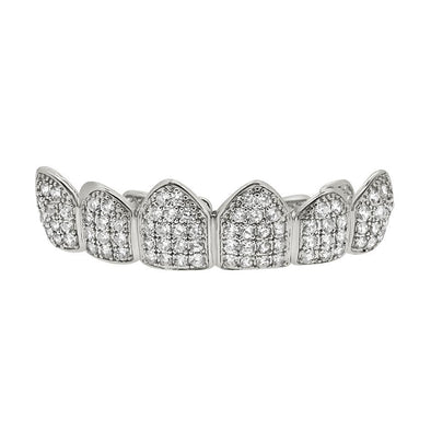 Iced Out Grillz CZ Silver Top Teeth
