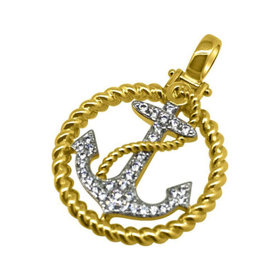 .925 Silver Gold Nautical Anchor CZ Bling Mini Pendant
