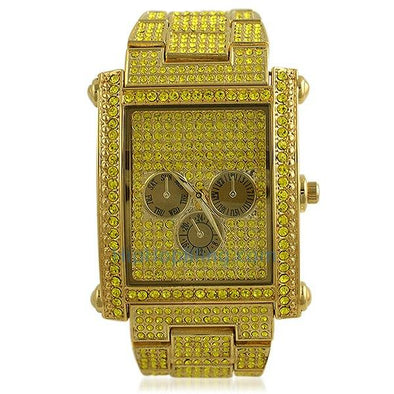 Lemonade Rectangle Custom Bling Bling Watch