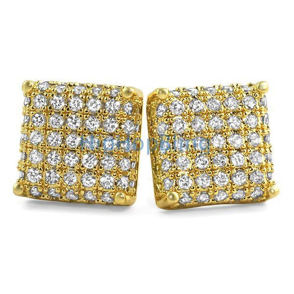 3D Square CZ Bling Bling Earrings