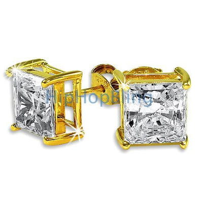 7mm Princess Cut Signity CZ Gold Vermeil Solitaire Earrings