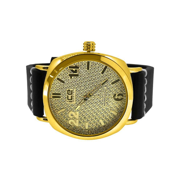 Gold Clean Style Watch with Thick Leather Band