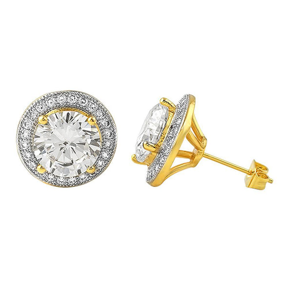 Gold XL Halo Solitaire Bling Bling CZ Earrings