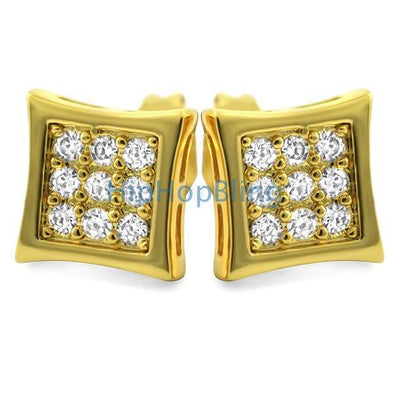 Kite Small Gold CZ Micro Pave Bling Earrings