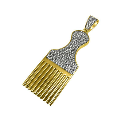 Hair Pic Barber Gold CZ Bling Bling Pendant