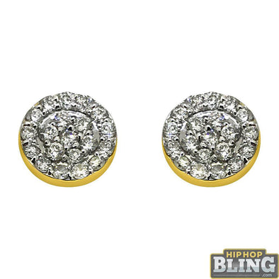 14K Gold .50cttw Diamond Circle Earrings