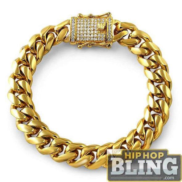 CZ Diamond Lock Gold Steel Cuban Bracelet 14MM