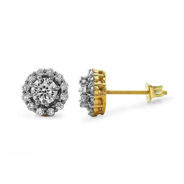 Gold Flower Iced Out CZ Earrings