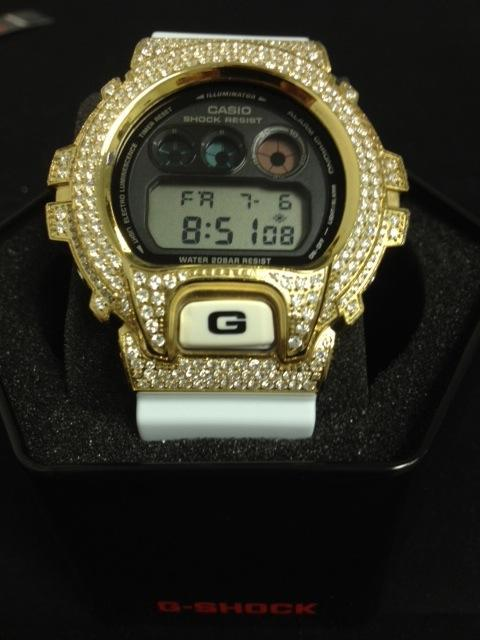 Iced Out Gold G Shock Watch White DW6900