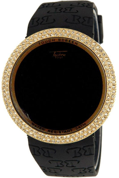 Iced Out Digital Touch Screen Watch Gold Black