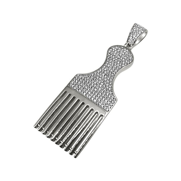 .925 Silver Hair Pic Barber Rhodium CZ Bling Bling Pendant (Free 36 Inch Bead Chain)