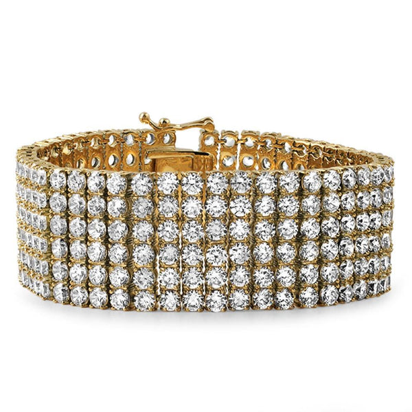 cac767e8af99d Gold Stainless Steel CZ 6 Row Iced Out Bracelet