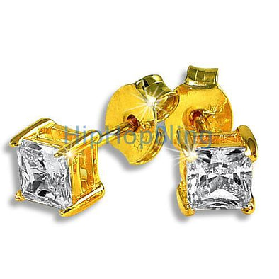 4mm Princess Cut Signity CZ Gold Vermeil Earrings