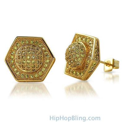 3D Domed Hexagon Lemonade CZ Hip Hop Earrings