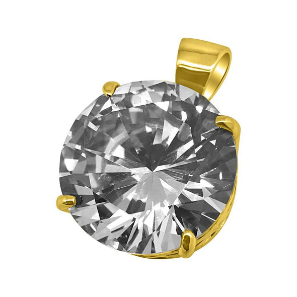 25MM CZ Solitaire Gold Bling Bling Pendant
