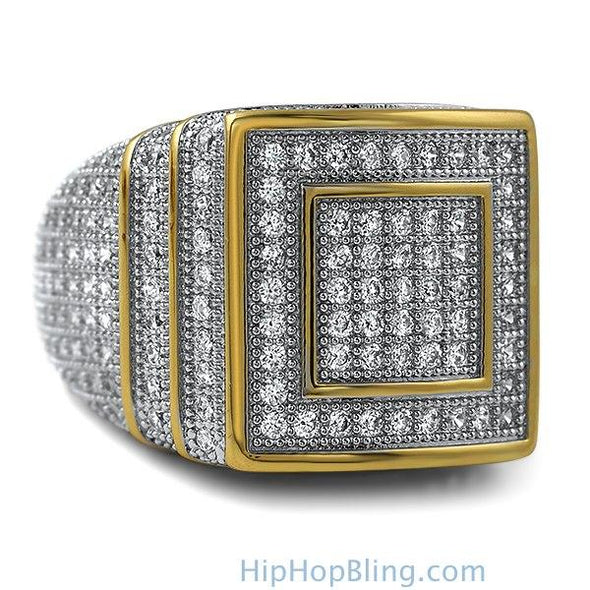Ice Stacked Gold CZ Micro Pave Iced Out Ring