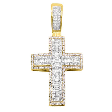 Domed Baguette Diamond Cross Pendant .80cttw 10K Gold