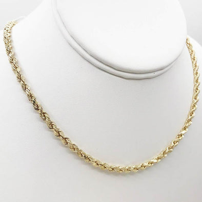 10K Yellow Gold Diamond Cut French Rope Chain Lightweight
