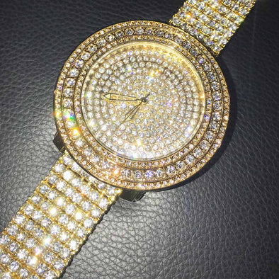 Gold Bright Custom Bling Bling Watch & Band