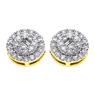 Circle Baguette Diamond Earrings .50cttw 10K Yellow Gold