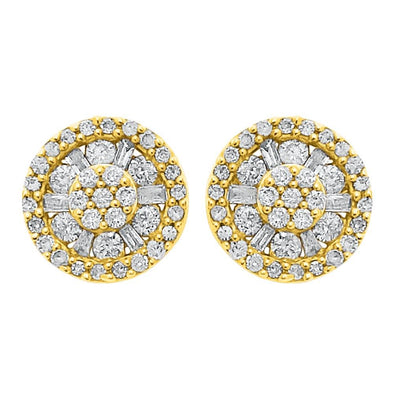 Baguette Wheel Diamond Earrings 1.00cttw 10K Yellow Gold
