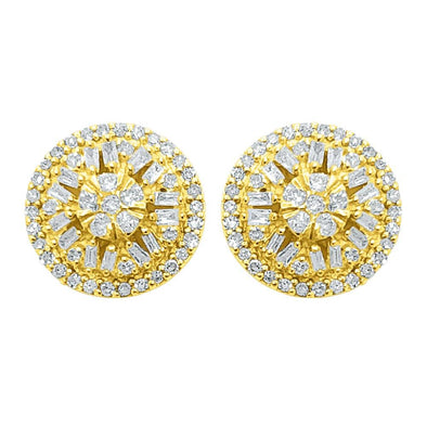Baguette Circle Star Diamond Earrings .52cttw 10K Yellow Gold