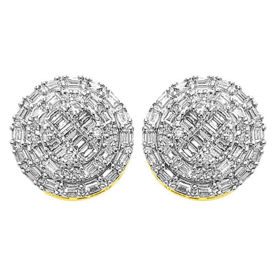 Large Baguette Circle Diamond Earrings .40cttw 10K Yellow Gold