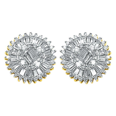 Large Baguette Sunburst Diamond Earrings .78cttw 10K Yellow Gold