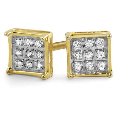 Box Diamond Earrings in .925 Sterling Silver | 4 Sizes | 2 Colors