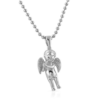VS Diamond Eyes Cherub Angel Pendant .925 Silver