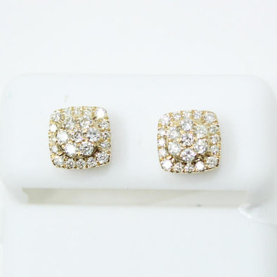 Fancy Cushion .56cttw Diamond 14K Yellow Gold Earrings