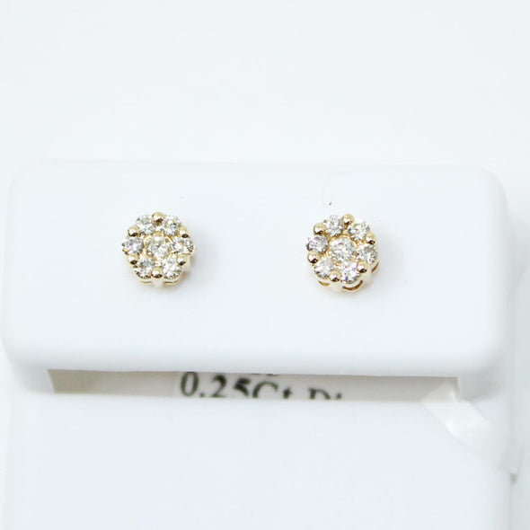 Mini Cluster .25cttw Diamond 14K Yellow Gold Earrings