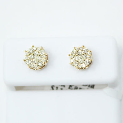 Crown Cluster .49cttw Diamond 14K Yellow Gold Earrings