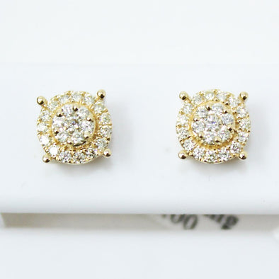 Solitaire Cluster .39cttw Diamond 14K Yellow Gold Earrings