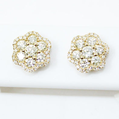 Bubble Cluster .98cttw Diamond 14K Yellow Gold Earrings