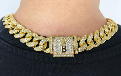 Hip Hop Bling Cuban Chain 15MM Wide White / Yellow Gold