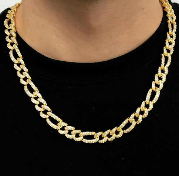 Figaro Bling Bling Chain 10MM White / Yellow Gold