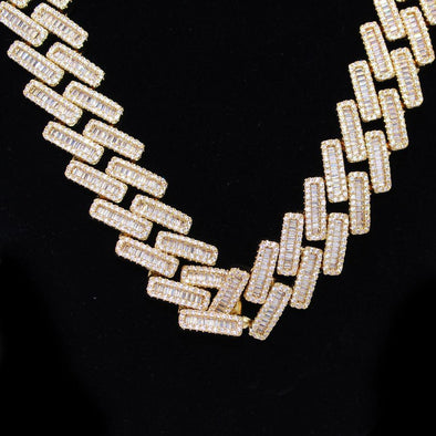Baguette Bar Cuban CZ Hip Hop Bling Bling Chain