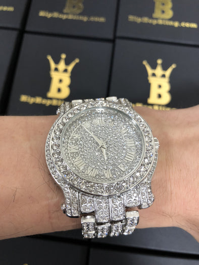 Amazing Bling Bling Silver Hip Hop Watch