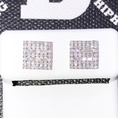 Baguette Square .55cttw Diamond Earrings 10K Yellow Gold